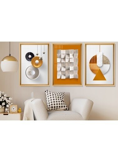 Çerçeve Home  Orange Love Natural Çerçeve Tablo Seti Renkli